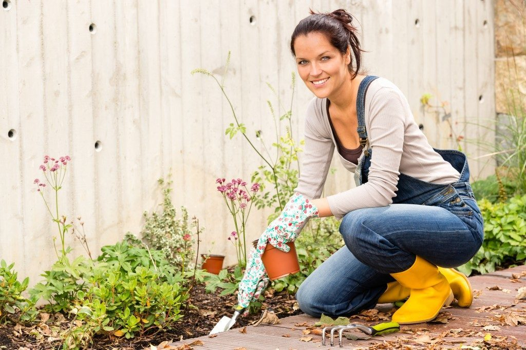 Woman doing backyard gardening