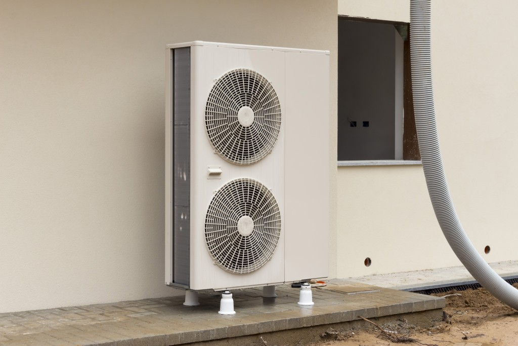 Heat pump outside of a building