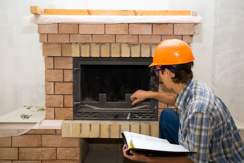 fireplace being measured