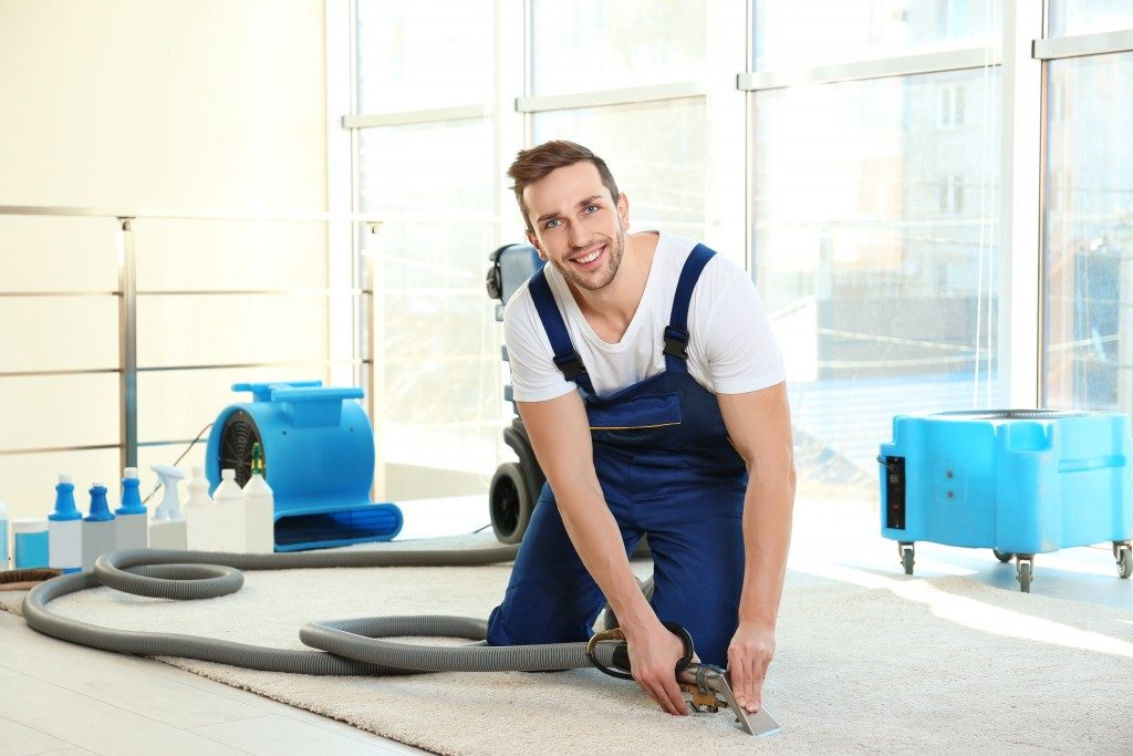 professional house cleaner cleaning carpets