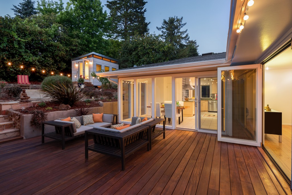 Large wooden home deck