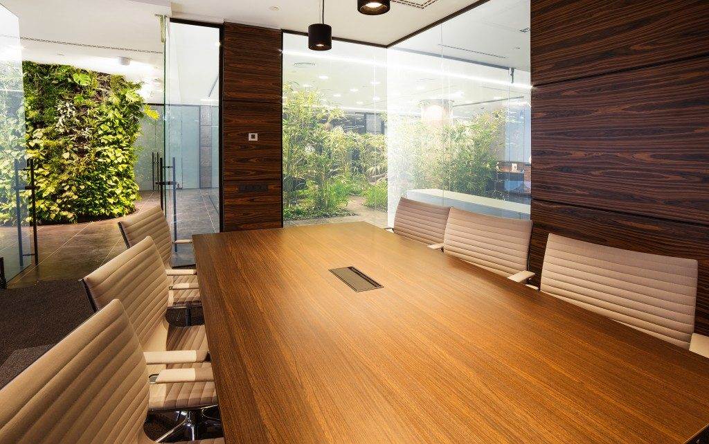Modern building interior with plants