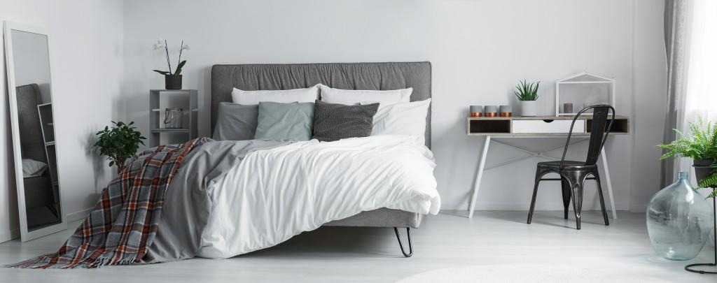 cozy bedroom with grey undertone