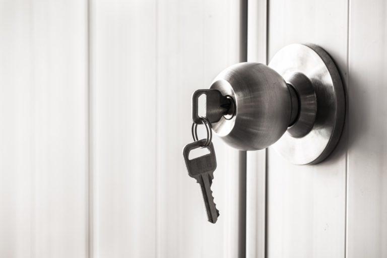 locked door with keys
