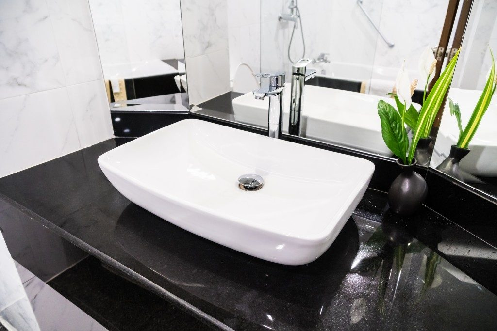 basin in a modern bathroom