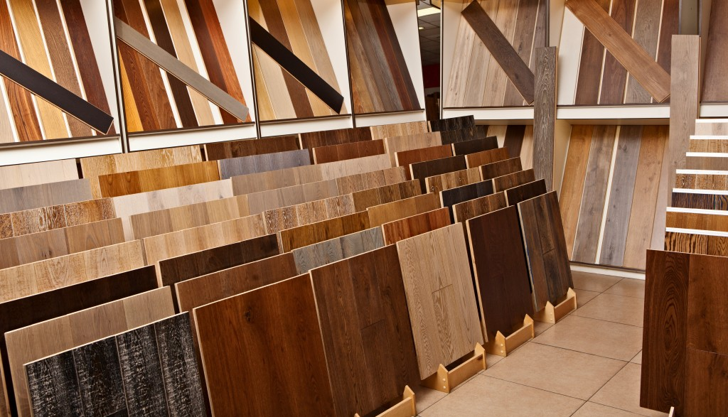 hardwood flooring samples in the shop